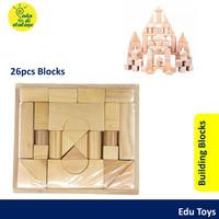 Balok Kayu Susun Natural 26 pcs Mainan Anak Wooden Toys Building Block