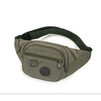 Tas selempang pria kanvas impor waistbag sling bag PREMIUM - Green army