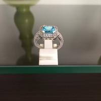 Cincin Perak Dilapisi Emas Putih Dengan Batu Blue Safir Cantik C 8019