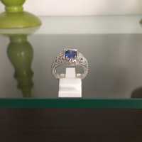 Cincin Perak Dilapisi Emas Putih Dengan Batu Blue Safir Cantik C 8020