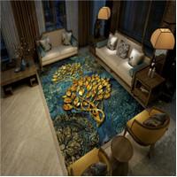 NEW Karpet Lantai 3Dimensi Shiny 180 Wool Pohon emas daun