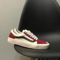 Sepatu Sneakers Vans Old Skool Marshmallow Red Black Unisex