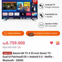MI TV 55 4K UHD FLAGSHIP ANDROID 9.0 SMART TV-WIFI-NETFLIX-YOUTUBE - Hitam, 55 INCH