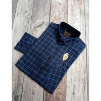 ALJOSA kemeja pria lengan panjang planel baju cowok flannel navy list