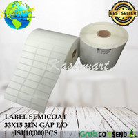 GROSIR LABEL BARCODE SEMICOATED 33x15 33 x 15 3LINE ISI 10.000 PCS