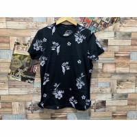 Kaos printing leaf hitam motif daun distro pria baju atasan cowok