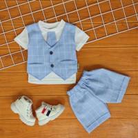 BunBa COD Setelan Baju Bayi Laki laki 0- 12 Bulan Rompi Tuxedo
