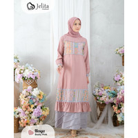 Baju Gamis Setelan Syari Nesya Dress Muslimah Wanita Warna Dusty Pink