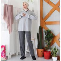 Baju Tidur Pria Wanita Tangan Panjang + Celana Panjang + Sendal - S