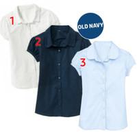 atasan kemeja hem anak perempuan branded original old navy putih biru