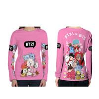 BT21 X BTS Tangan Panjang Baju Anak Perempuan Printing