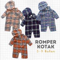 Romper Baju Anak Bayi Laki Katun Flanel Kotak Topi 3-9 bulan