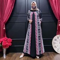 Baju wanita gamis modern gamis tenun kombinasi toyobo