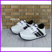 Sepatu Anak Laki Perempuan Adidas Putih Garis Hitam Ukuran 24- 37