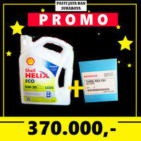 PROMO Oli Shell Helix Eco 5W-30 5W30 LCGC Galon + Filter Oli Honda