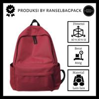 Tas Ransel Backpack Sekolah Distro Polos Murah Pria Wanita Cewek Cowok