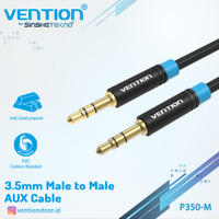 Vention Kabel Aux Audio 3.5mm Male to Male Gold Plated - P350 Braided, 0.5m