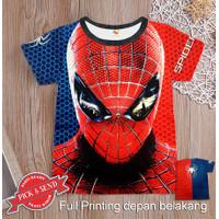Kaos Anak Baju Cowok Full Printing Spiderman 1 - 12 tahun