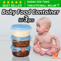 Baby Food Container isi 3PCS Wadah Tempat Makanan Bayi Transparan Biru
