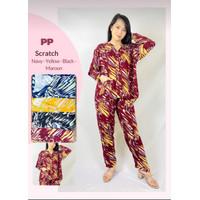 Baju Tidur Wanita Piyama Setelan Rayon PP Tangan Panjang - Batik