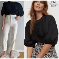 H&M puff sleeve blouse (Black) ORIGINAL 100% - XS