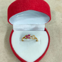cincin mata 6 merah putih 1 gram emas muda