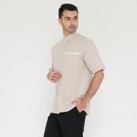 Kemeja Baju Koko Muslim Pria Lengan Pendek - XL, Putih