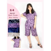Baju Tidur Wanita Piyama Setelan Rayon Celana 3/4 - Salur Camo