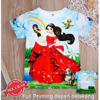 Kaos Anak Baju Cewek Full Printing Princes 1 - 12 tahun