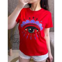 Baju Kaos Lengan Pendek Import / T Shirt Wanita Cotton 30s Branded - Merah, L