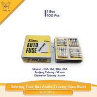 Sekring Fuse Box Audio Tabung Kaca Bulat 10A 15A 20A 25A 1Box 100PC -