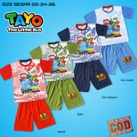 Baju anak laki laki jumbo setelan TAYO oblong CO-2226-OBL-014 siap COD - Merah, 22