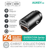AUKEY CAR CHARGER MOBIL FAST CHARGING 30W USB + TYPE C PD + QC CC-A3