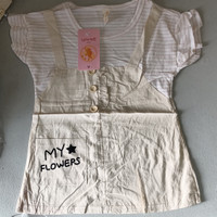 Dress overall my star / dress anak / baju fashion anak - White n pink, M