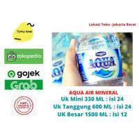 AQUA air mineral ukuran 330ml, 600ml, 1500ml dijual Dus