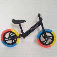 Balance bike / Push bike / Sepeda Anak Sepeda tanpa pedal - HITAM RAINBOW