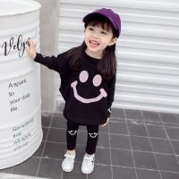 Setelan Anak Perempuan Import Setelan Baju Anak Cewek Import Korea - Hitam, 4-5 tahun