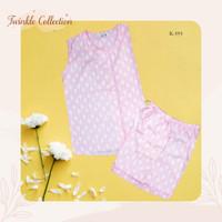 Stelan Baju Tidur Piyama Wanita Lengan Buntung Katun Jepang GREET (HB)