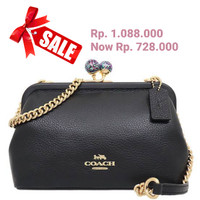 Coach Kisslock Nora Pebble Leather CrossBody Bag Black C1451 ( SALE )