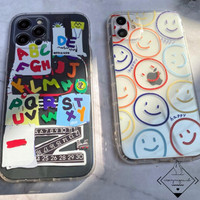 Colorful Smiley Case Iphone 11 12 PRO MAX MINI Casing Cool Cute