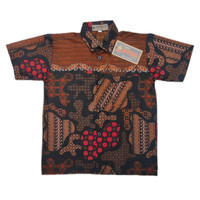 Kemeja Hem Batik Anak Cowok Katun Prima Coklat Cappucino Baju Atasan