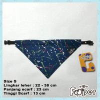 Kalung Anjing Kucing Scarf Bandana Collar S Navy Abstract