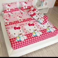 bed cover lady rose sprei karet no2 uk 160x200 motif Kitty Capucino
