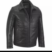jaket kulit pria asli jaket model kantor warna coklat tua