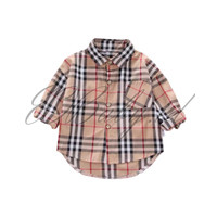 [1 - 8 Tahun] Baju Kemeja Jalan Bayi Anak Coklat Garis EOBaby J04