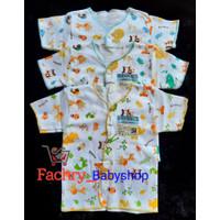 3 pcs AIRIN Baju Pendek Kancing Bayi Motif Newborn SNI