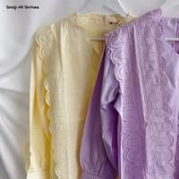AIRA TOP (Kemeja Atasan Blouse Top Wanita Pastel Korea Import) - Yellow