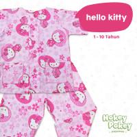 Setelan Baju Tidur Piyama Anak Perempuan Tanpa Kerah Motif Hello Kitty