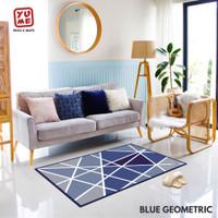 Karpet Ruang Tamu Anti Slip 100x150cm - YUME Motif Blue Geometric