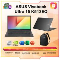 ASUS Vivobook Ultra 15 K513EQ VIPS551 i5 1135G7 8GB 512ssd MX350 OHS